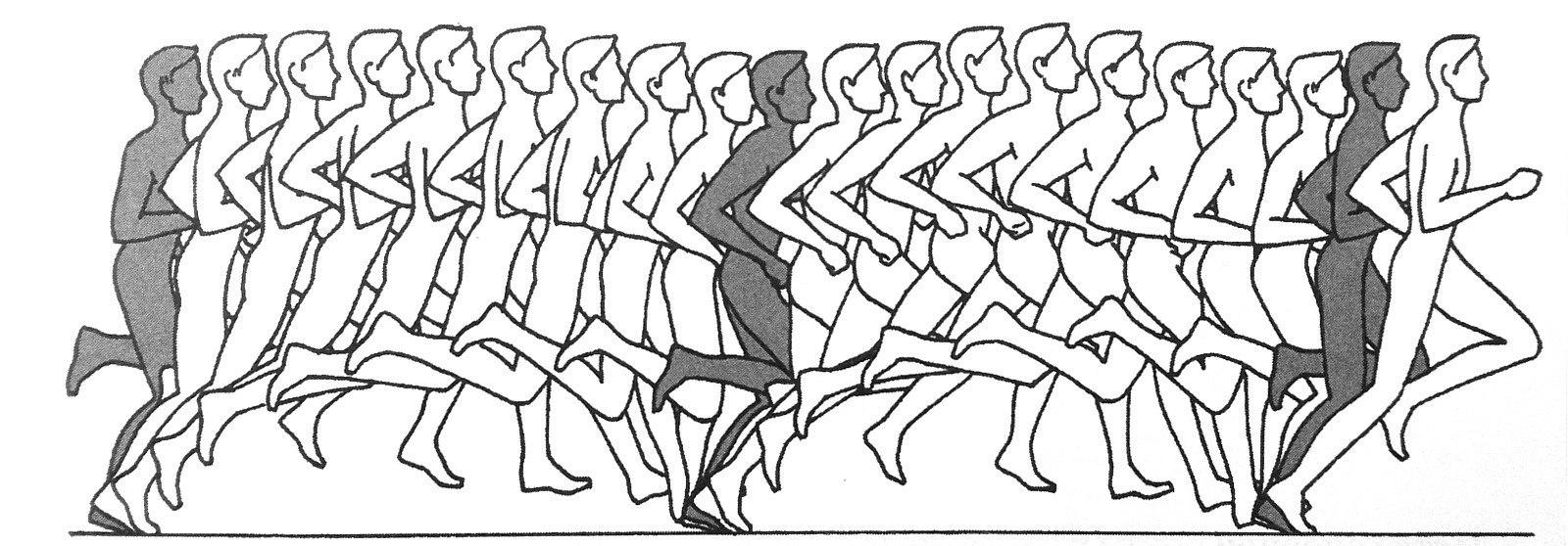 беговой шаг спортсмена