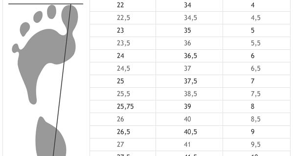 определение размера кроссовок